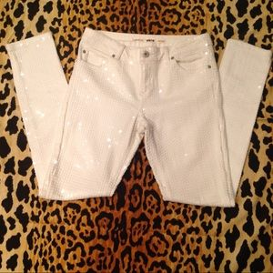 Topshop Moto Sequin Skinny Jeans
